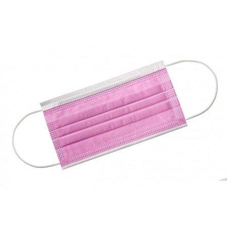 Maseczka chirurgiczna 3-warstwowa z gumką różowa